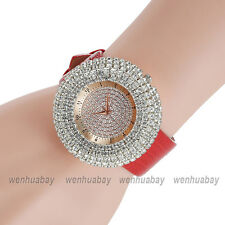 Fashion Blingbling Crystal Dial Womens Leather Strap Quartz Wristwatch Lady Gift