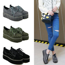Women Fashion High Top Platform Sport Shoes Casual Lace Up Wedges New Sneakers