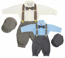 Baby Toddler Beige Blue Houndstooth Knickers Vintage Set Outfit Wedding Easter