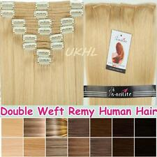 Luxury 5A Double Weft Clip In Remy Human Hair Extensions Full Head Thick UK E92
