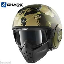 Helmet SHARK RAW KURTZ Mat green black window cylinder jet scooter motorcycle
