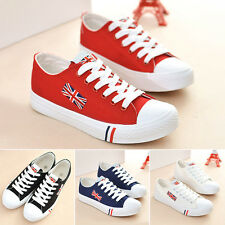 1 pair Womens Ladies Non-Slip Shoes Lace-Up Casual Canvas Sneakers Flat Shoes