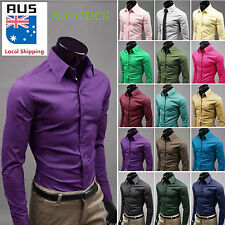 Mens Candy Colors Korean Style Slim T-Shirt Formal Casual Fit Business Dress Top