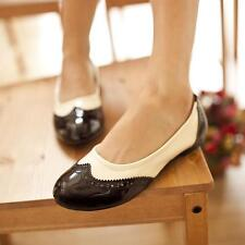 womens flats oxfords Brogue round toe faux patent leather wing tips shoes