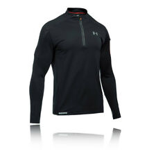 Under Armour Mens Black Water Resistant Half Zip Long Sleeve Running Jacket Top