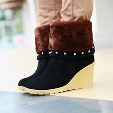 Womens Synthetic Suede Platforms & Wedges High Heels Snow Warm Lady Boots Shoes