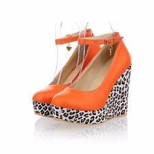Womens Leather High Heels Wedges & Platforms Ankle Straps Casual Pumps Shoes