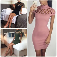 Sexy Women Hollow Bodycon Slim Mini Dress Cocktail Party Night Club Clubwear