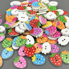 FREE 50-100pcs Wooden Strawberry Sewing Buttons Scrapbooking Mixed colour 16mm
