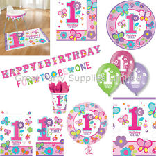 Sweet Girls 1st Birthday Party Pack for 16, Plates Cups Napkins Banner plus more