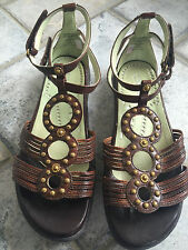 Kalso Earth Couture Fauci Bat Multi Calf Brown Womens Sandals Size 8