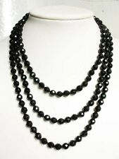 rope Necklace black onyx 8mm facet round beads A+