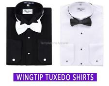 MEN'S TUXEDO WING TIP COLLAR DRESS SHIRTS BOW-TIE BLACK OR WHITE BY BERLIONI