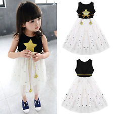 3-11Y Kids Girls Star Sequins Tulle Dress Casual Princess Party Skirt with Belt
