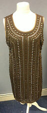 TJ Hughes Platinum By Sky Shift Sequin / Beaded Dress Sable 1920's Style Box6080