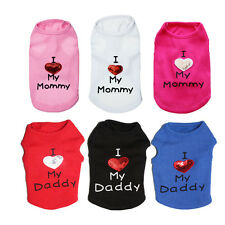 Dog Vest Clothes Mommy Daddy Hoodie Cat Puppy T Shirt Summer Spring Vest XS-L