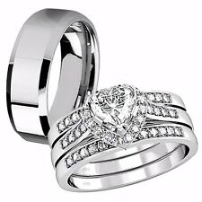 Hers Sterling Silver CZ His Stainless Steel Engagement Wedding Ring Band Set