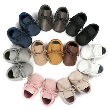 New Kids Boy Girl Baby Shoes Infant Toddler Tassel PU Leather Moccasin 0-18M
