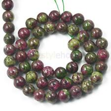 Charm Spacer Loose Gemstone Ruby Zoisite Beads Strand Jewelry Making 6 8 10mm