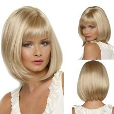 Women's Light Blonde Short Bob Straight Hair Cosplay Costume Party Wig+Wig Cap
