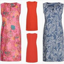 Ex Next Womens Plain Paisley & Floral Linen Blend Sleeveless Shift Dress
