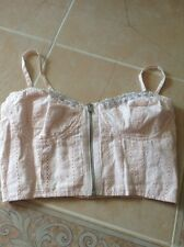 NWOT GUESS BUSTIER CORSET PINK TOP EMBROIDED SIZE XS