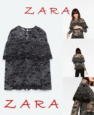 ZARA Lace Blouse With Frill Long Sleeve Black White Floral New Top R$55 Sz.XS; S