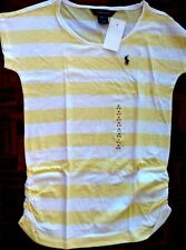 POLO Ralph Lauren Girls T-Shirt Crew Neck Striped Yellow/White 100% Cotton NWT