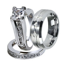 3 Pcs His Tungsten Band & Hers CZ Sterling Silver Bridal Wedding Ring Sets