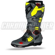 SIDI Crossfire 2 SRS Motorcycle Boots Black Grey Yellow Fluo, NEW!