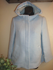 ZARA NWT Light Blue Wool Parka Jacket Hood Coat Size S
