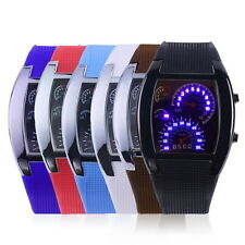 Men Sports RPM Turbo Blue Flash LED Sports Car Meter Dial Watch Wristwatch US XC