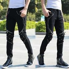 Fashion Men's gothic trousers skinny punk zipper decor motorcycle Casual Pants Y