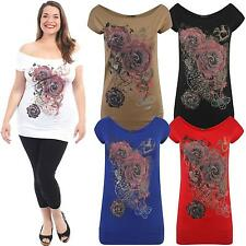 New Ladies Purple Rose Floral Off Shoulder Short Sleeve Waist Band T-Shirts 8-22