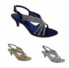 NEW Ladies Low Heel Diamante Evening Party Sandals Shoes Navy Silver Gold Size
