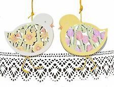 Gisela Graham Easter Chick Fretwork Tulips Daffodils Hanging Decoration