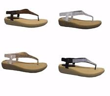 NEW Ladies Comfy Toe Post Sandals Diamante Summer Flip Flops Wedge Low Size 3-8
