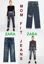 ZARA Mom Fit Ripped Pants New (RT$55) Frayed Hem High Rise Patched Jeans US 2; 4