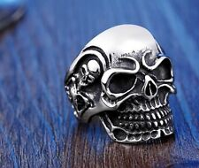 Mens Skull Biker Ring Silver Stainless Steel Gothic Jewelry Cool Unique Band