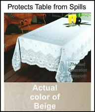 "Beautiful Beige Vinyl Tablecloth - Rectangle, easy-care, full coverage, 60""x90"""