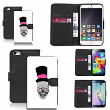 faux leather wallet case for many Mobile phones - pink skull hat