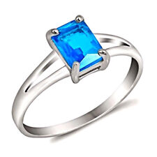 New Women's 925 Sterling Silver Ring- Sky Blue Topaz Gemstone- Emerald Cut- 1 CT