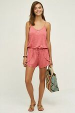 NWT $78 ANTHROPOLOGIE TERRY LOUNGE ROMPER BY SATURDAY SUNDAY PINK