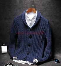 Fashion Mens Long Sleeve Slim Fit V-neck Knit Pullover Cardigan Sweater Coat Top