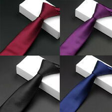 Men Classic High Quality Striped Solid Color Skinny Necktie Party Business Tie