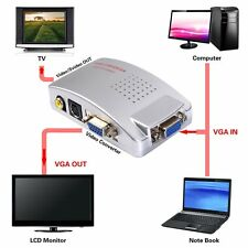 Laptop VGA to AV RCA TV Monitor S-video Signal Adapter Converter Switch Box HOT~