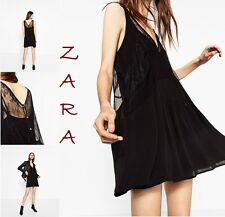 Zara Black Camisole Mini Dress Sleeveless New (RT$53) Lined Lace Dress Size S, M