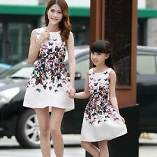 New Mother Daughter Matching Dresses Summer Women Dress Girl Clothes Outfit I