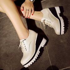 US Size 5-10. 5 Womens Leather Rubber Lace Up Wedges & Platforms Solid Shoes
