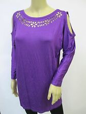 Purple Stretchy 3/4 Sleeve Floral Cutout Cold Shoulder Tunic Top Sz S~L